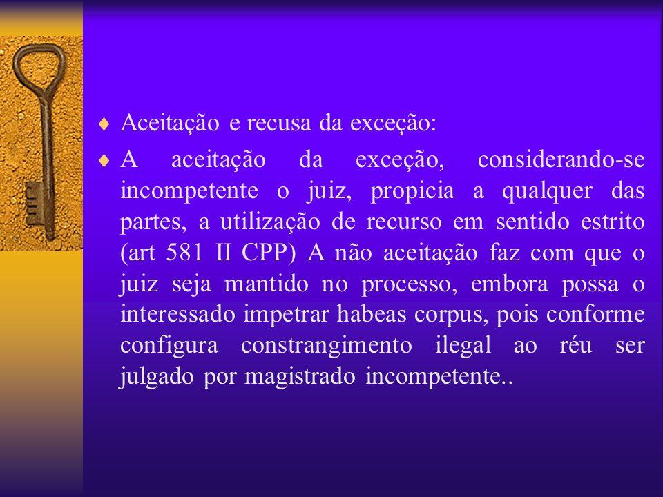Aceitação da exceção e remessa ao foro competente: Caso o juiz acolha os argumentos do excipiente, remeterá os autos ao juízo considerado competente.