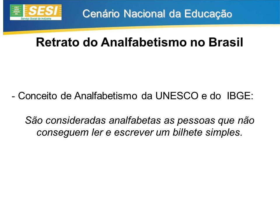 Cenário Nacional da Educaçã o Retrato do Analfabetismo no Brasil - Conceito de Analfabetismo da UNESCO e do IBGE: São consideradas analfabetas as pessoas que não conseguem ler e escrever um bilhete simples.