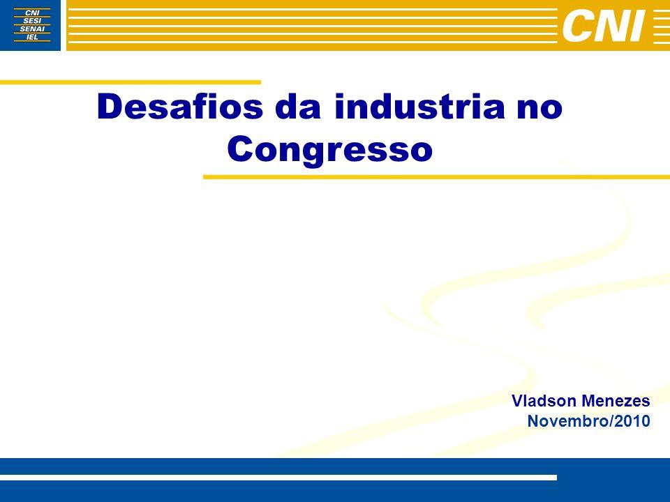 A Coal e a atuação da CNI no Congresso Nacional – Temas Agendas 1995-2010 TEMASTOTAL Legislação trabalhista232 (25,7%) Regulamentação da Economia202 (22,4%) Sistema tributário140 (15,5%) Indicações Setoriais131 (14,5%) Infra-estrutura62 (6,9%) Infra-estrutura social42 (4,5%) Meio Ambiente34 (3,8%) Questões Institucionais26 (2,9%) Política Econômica25 (2,8%) PAC**9 (1,0%) Total903 (100%)