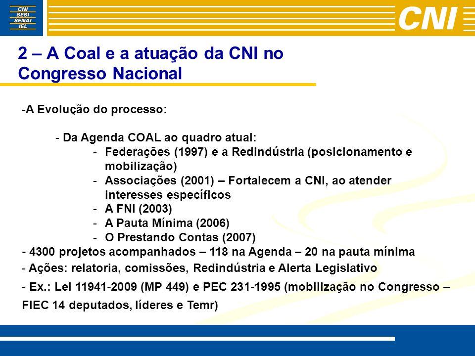 2 – A Coal e a atuação da CNI no Congresso Nacional - -A Evolução do processo: - - Da Agenda COAL ao quadro atual: - -Federações (1997) e a Redindústr