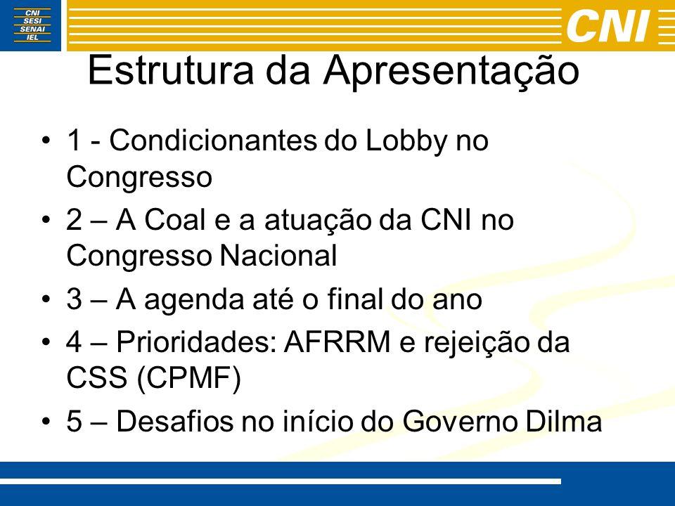 Estrutura da Apresentação 1 - Condicionantes do Lobby no Congresso 2 – A Coal e a atuação da CNI no Congresso Nacional 3 – A agenda até o final do ano