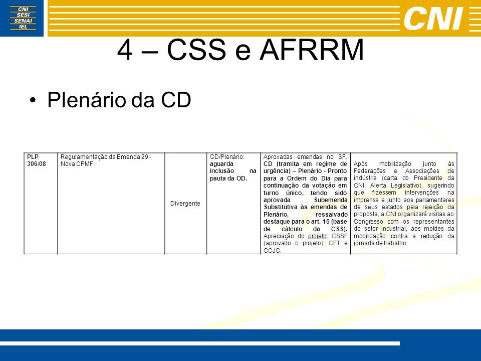 4 – CSS e AFRRM Plenário da CD PLP 306/08 Regulamentação da Emenda 29 - Nova CPMF Divergente CD/Plenário: aguarda inclusão na pauta da OD. Aprovadas e
