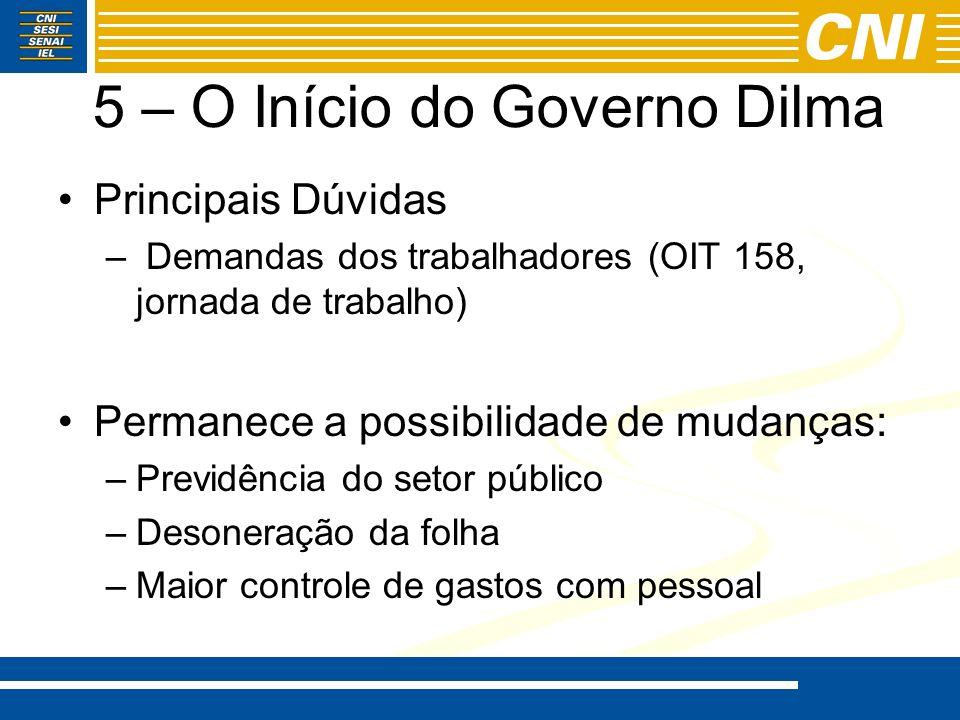 5 – O Início do Governo Dilma Principais Dúvidas – Demandas dos trabalhadores (OIT 158, jornada de trabalho) Permanece a possibilidade de mudanças: –P