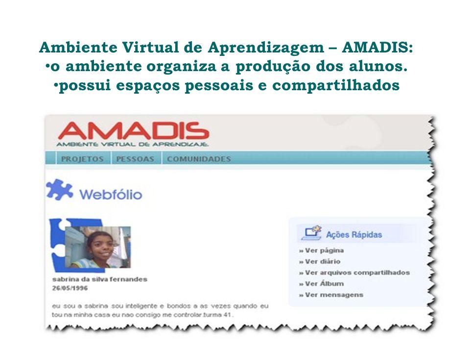 Ambiente Virtual de Aprendizagem – AMADIS: o ambiente organiza a produção dos alunos.