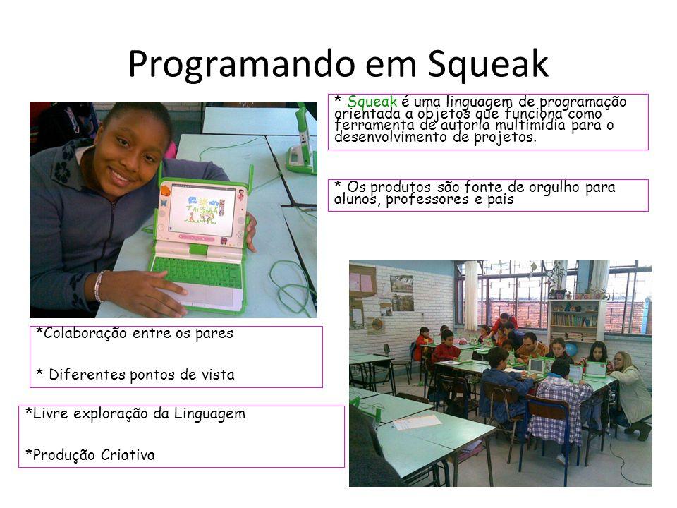 Programando em Squeak * Squeak é uma linguagem de programação orientada a objetos que funciona como ferramenta de autoria multimídia para o desenvolvimento de projetos.