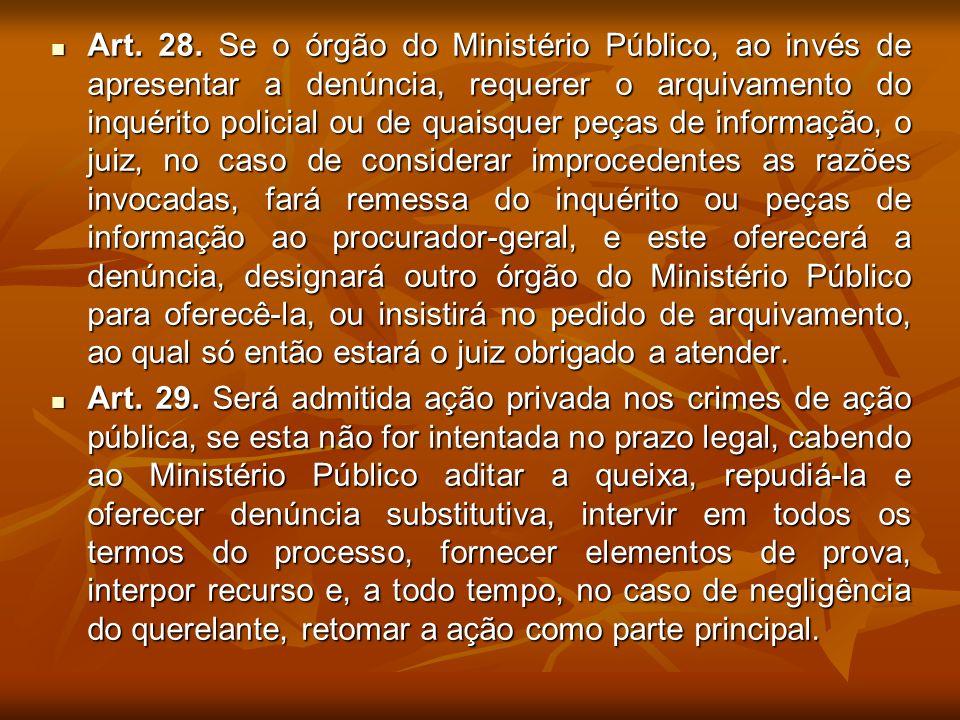 Art. 28. Se o órgão do Ministério Público, ao invés de apresentar a denúncia, requerer o arquivamento do inquérito policial ou de quaisquer peças de i