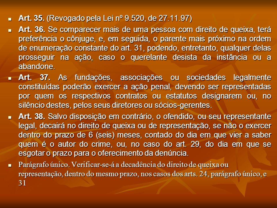 Art. 35. (Revogado pela Lei nº 9.520, de 27.11.97) Art. 35. (Revogado pela Lei nº 9.520, de 27.11.97) Art. 36. Se comparecer mais de uma pessoa com di