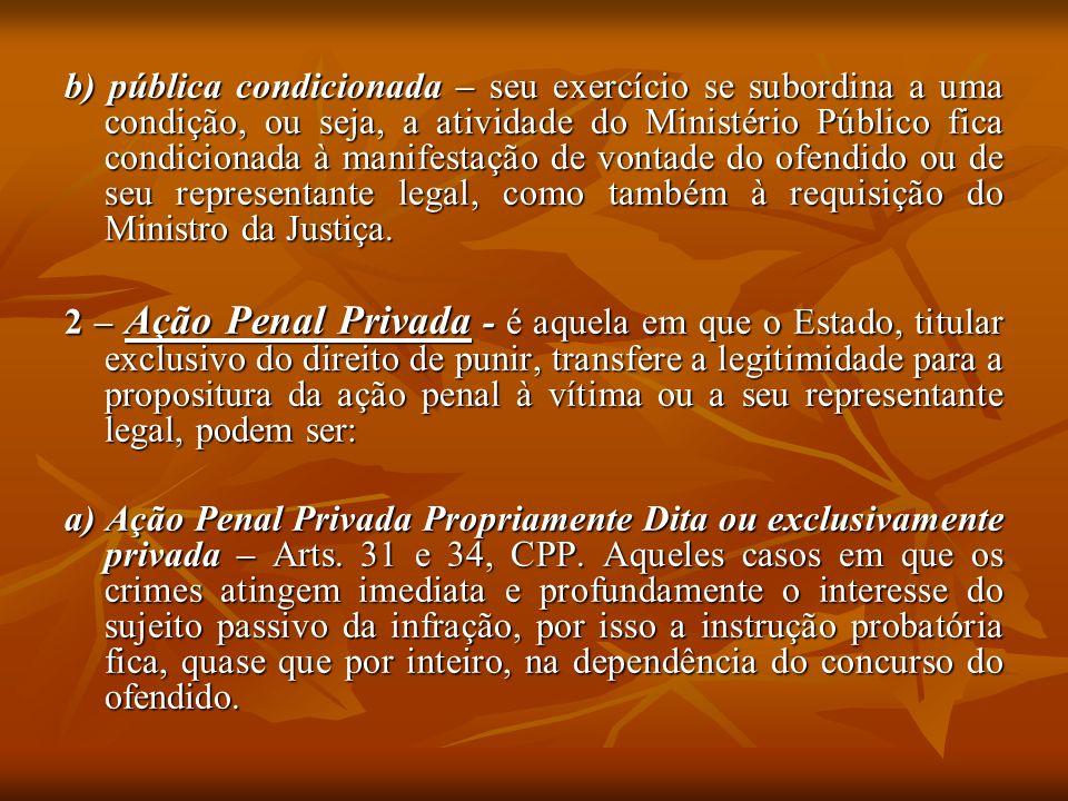 b) pública condicionada – seu exercício se subordina a uma condição, ou seja, a atividade do Ministério Público fica condicionada à manifestação de vo