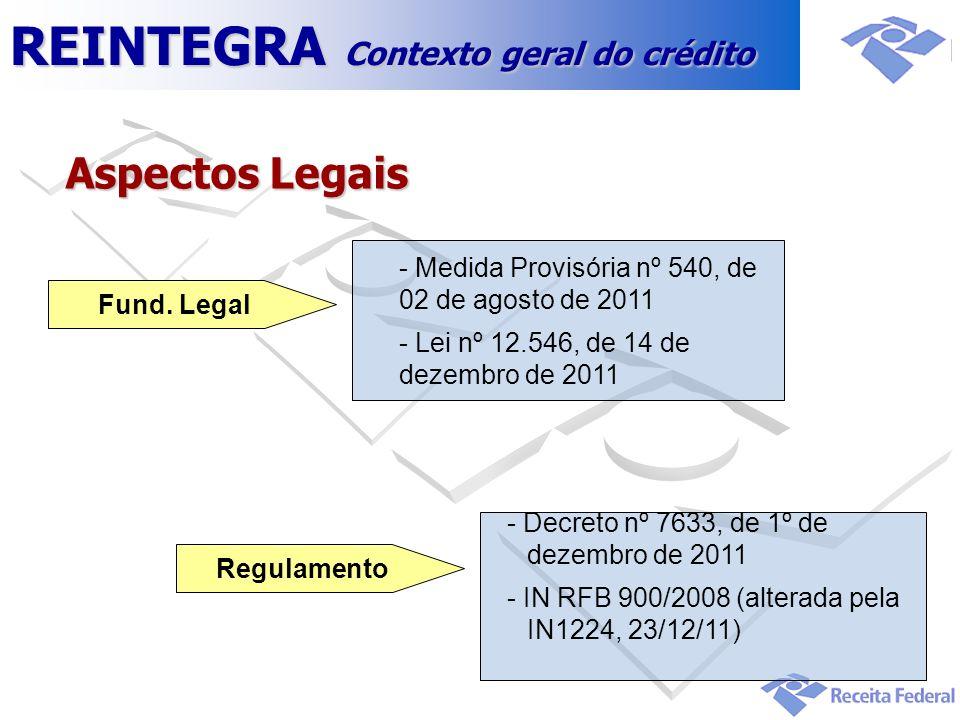 Aspectos Legais - Medida Provisória nº 540, de 02 de agosto de 2011 - Lei nº 12.546, de 14 de dezembro de 2011 Fund. Legal - Decreto nº 7633, de 1º de