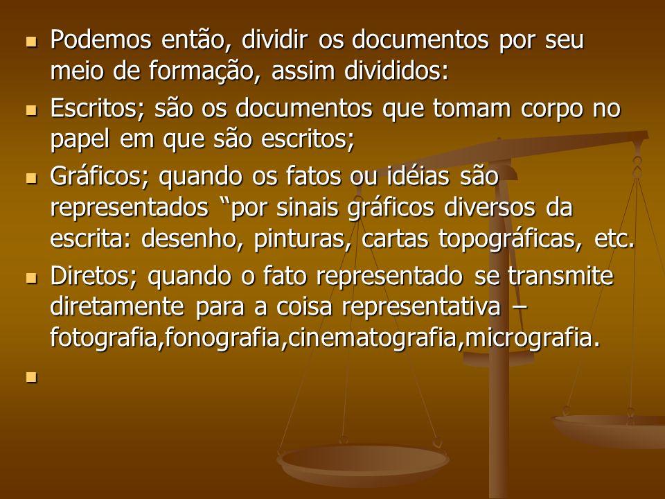 Podemos então, dividir os documentos por seu meio de formação, assim divididos: Podemos então, dividir os documentos por seu meio de formação, assim d