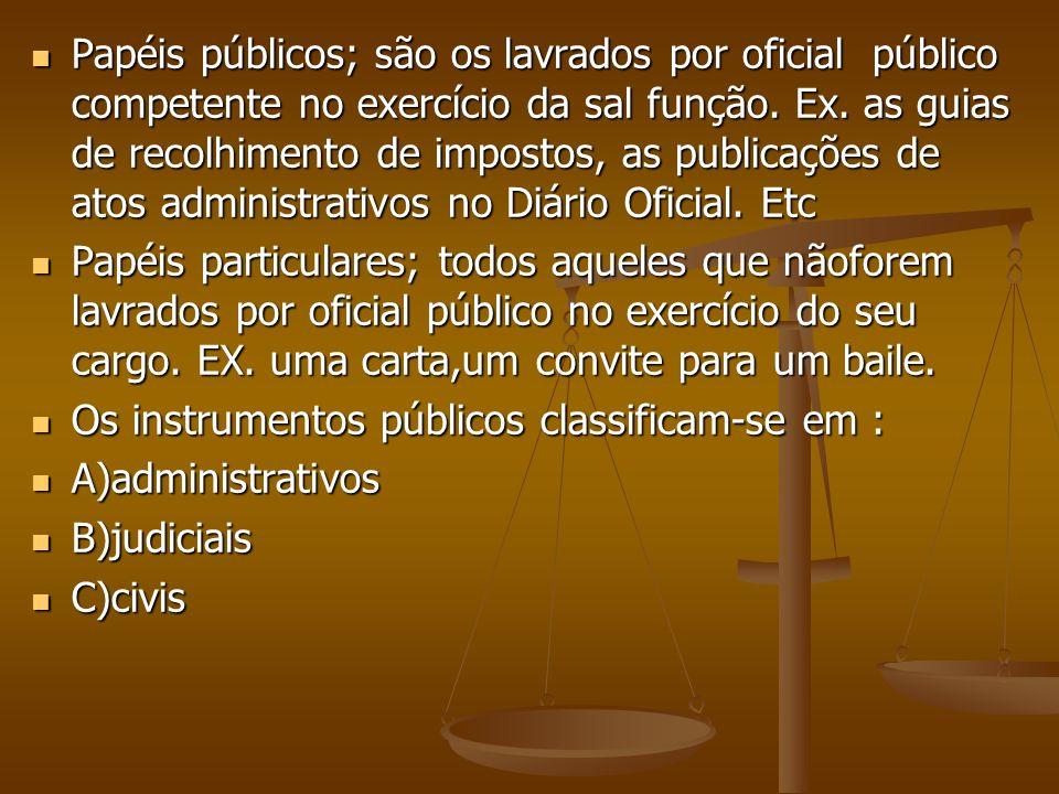 Papéis públicos; são os lavrados por oficial público competente no exercício da sal função. Ex. as guias de recolhimento de impostos, as publicações d