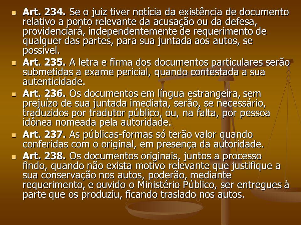 Art. 234. Se o juiz tiver notícia da existência de documento relativo a ponto relevante da acusação ou da defesa, providenciará, independentemente de