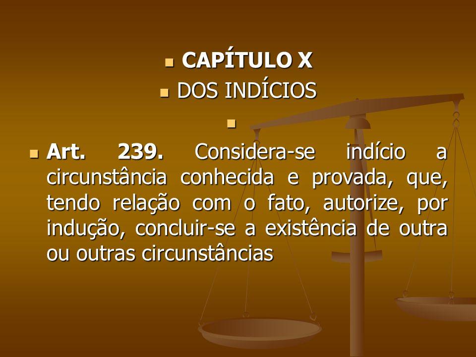 CAPÍTULO X CAPÍTULO X DOS INDÍCIOS DOS INDÍCIOS Art. 239. Considera-se indício a circunstância conhecida e provada, que, tendo relação com o fato, aut