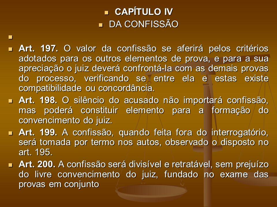 CAPÍTULO IV CAPÍTULO IV DA CONFISSÃO DA CONFISSÃO Art.