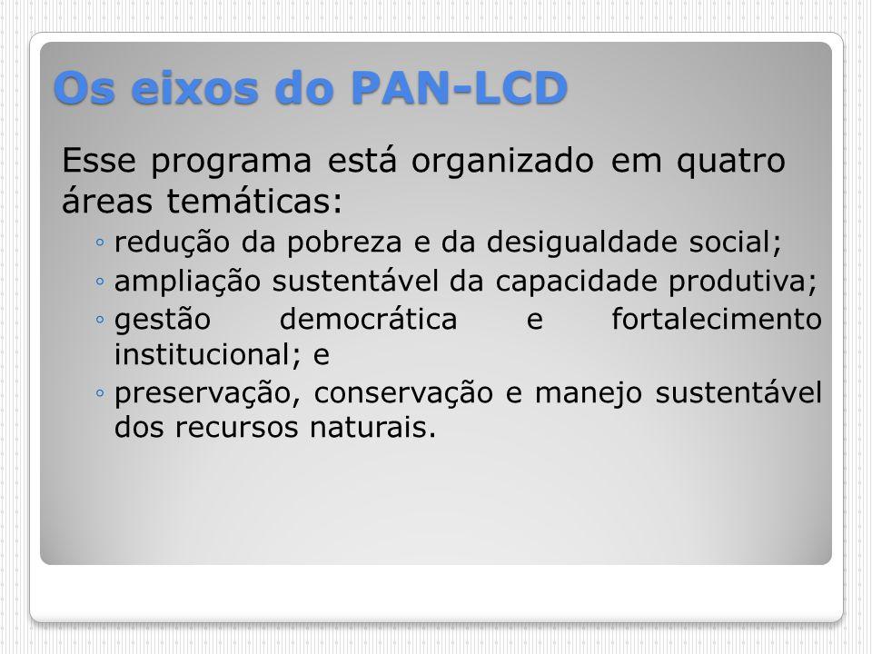 Os eixos do PAN-LCD Esse programa está organizado em quatro áreas temáticas: redução da pobreza e da desigualdade social; ampliação sustentável da cap