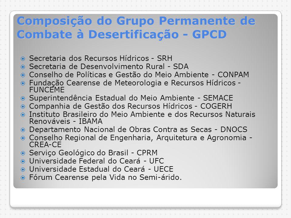 Composição do Grupo Permanente de Combate à Desertificação - GPCD Secretaria dos Recursos Hídricos - SRH Secretaria de Desenvolvimento Rural - SDA Con