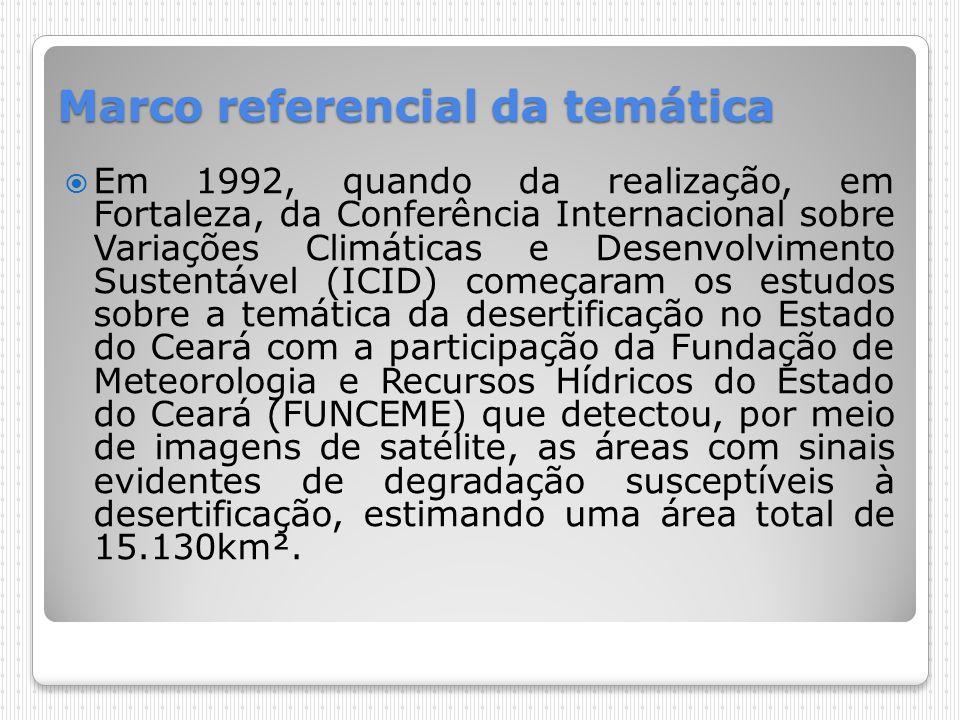 1994-1998 Em 1994, realização da Conferência Nacional e Seminário Latino-Americano da Desertificação (CONSLAD) e elaboração de ações de combate à desertificação que perduraram até 1998, porém, algumas ações não obtiveram o resultado esperado e outras não foram implementadas devido a entraves burocráticos tanto a nível federal como estadual.