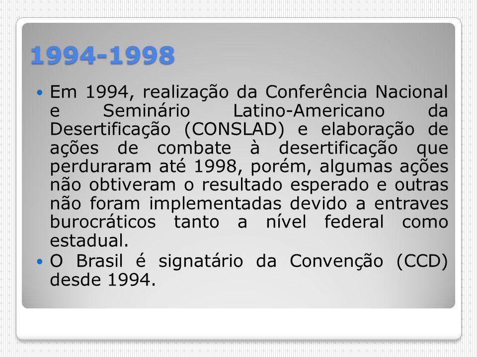 1994-1998 Em 1994, realização da Conferência Nacional e Seminário Latino-Americano da Desertificação (CONSLAD) e elaboração de ações de combate à dese