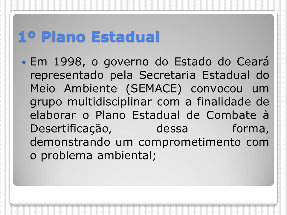 1º Plano Estadual Em 1998, o governo do Estado do Ceará representado pela Secretaria Estadual do Meio Ambiente (SEMACE) convocou um grupo multidiscipl