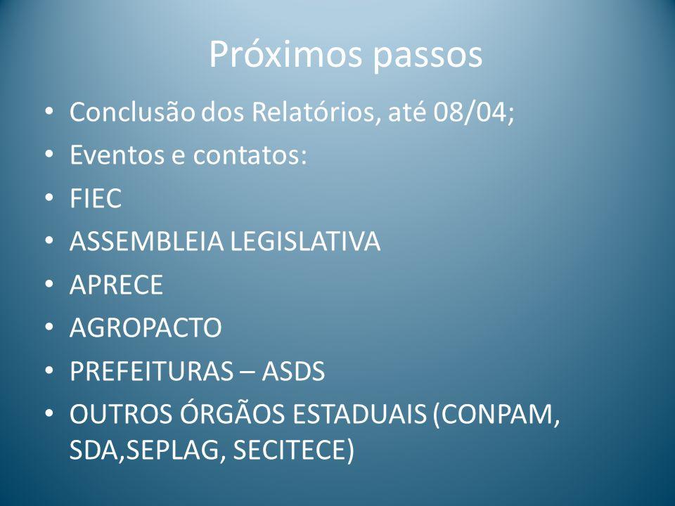 Próximos passos Conclusão dos Relatórios, até 08/04; Eventos e contatos: FIEC ASSEMBLEIA LEGISLATIVA APRECE AGROPACTO PREFEITURAS – ASDS OUTROS ÓRGÃOS