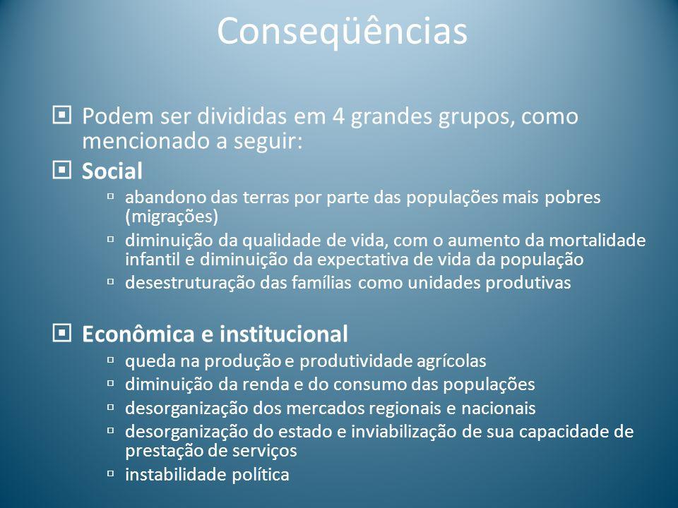 Conseqüências Podem ser divididas em 4 grandes grupos, como mencionado a seguir: Social abandono das terras por parte das populações mais pobres (migr