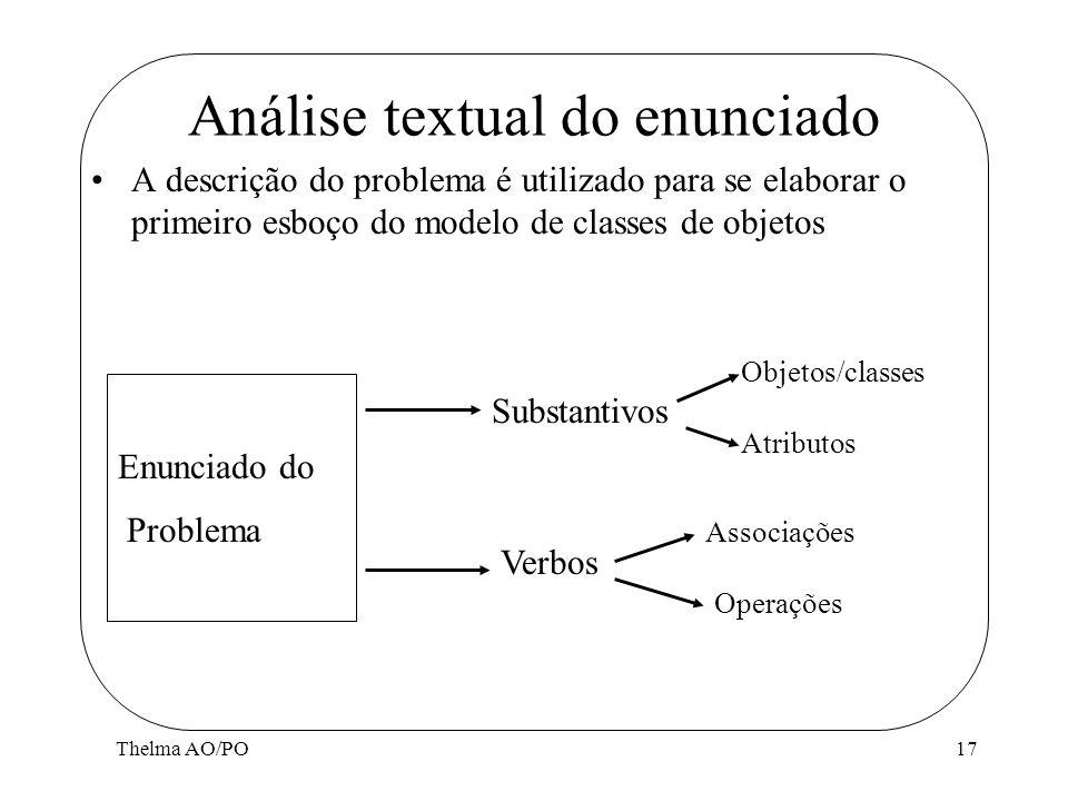 Thelma AO/PO17 Análise textual do enunciado Enunciado do Problema A descrição do problema é utilizado para se elaborar o primeiro esboço do modelo de