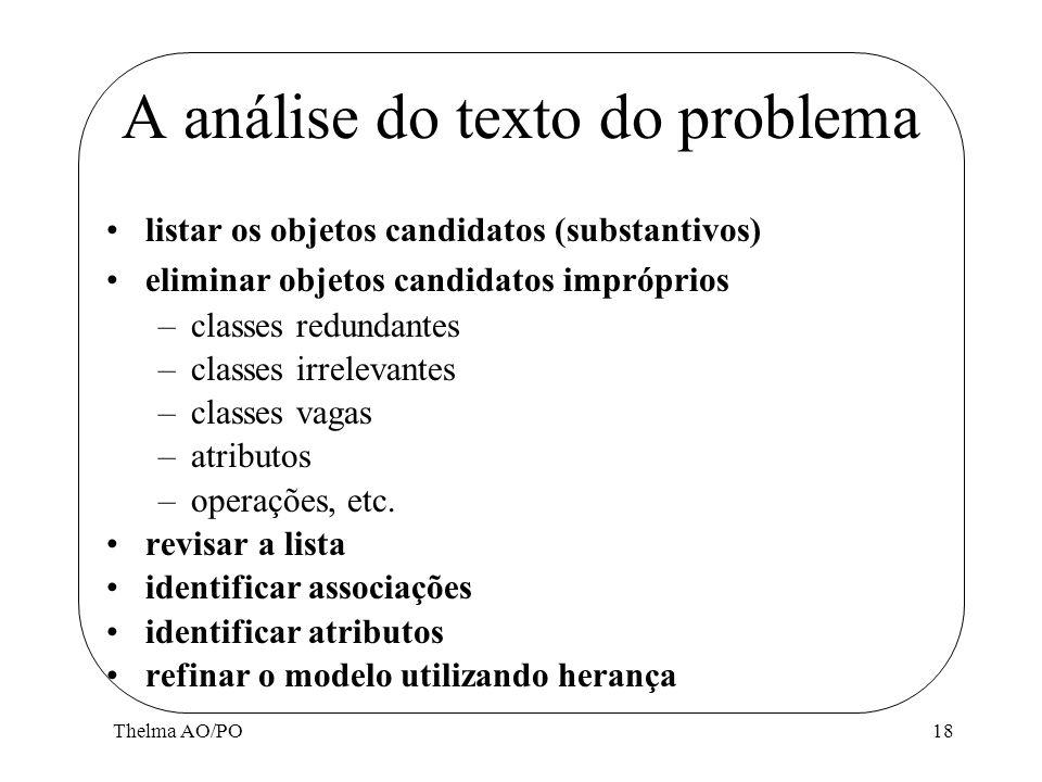 Thelma AO/PO18 A análise do texto do problema listar os objetos candidatos (substantivos) eliminar objetos candidatos impróprios –classes redundantes
