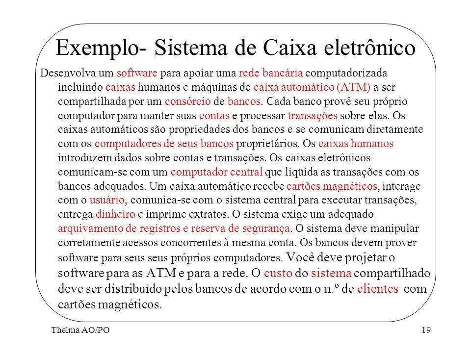 Thelma AO/PO19 Exemplo- Sistema de Caixa eletrônico Desenvolva um software para apoiar uma rede bancária computadorizada incluindo caixas humanos e má