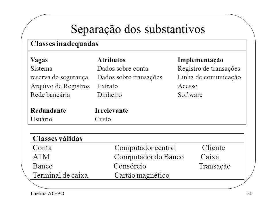 Thelma AO/PO20 Separação dos substantivos Vagas Sistema reserva de segurança Arquivo de Registros Rede bancária Atributos Dados sobre conta Dados sobr