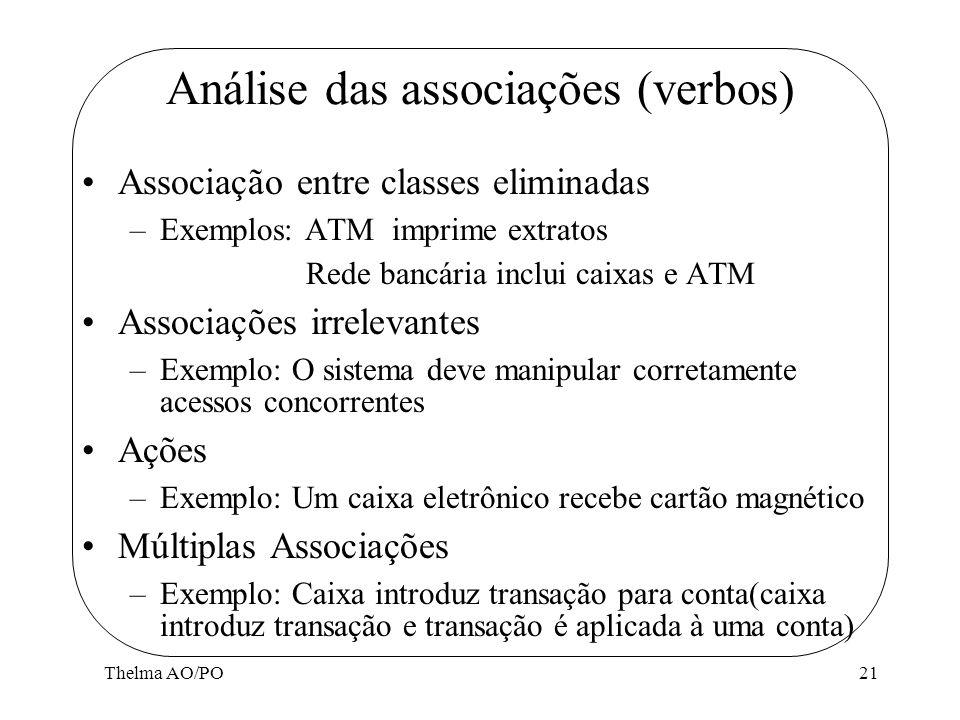 Thelma AO/PO21 Análise das associações (verbos) Associação entre classes eliminadas –Exemplos: ATM imprime extratos Rede bancária inclui caixas e ATM