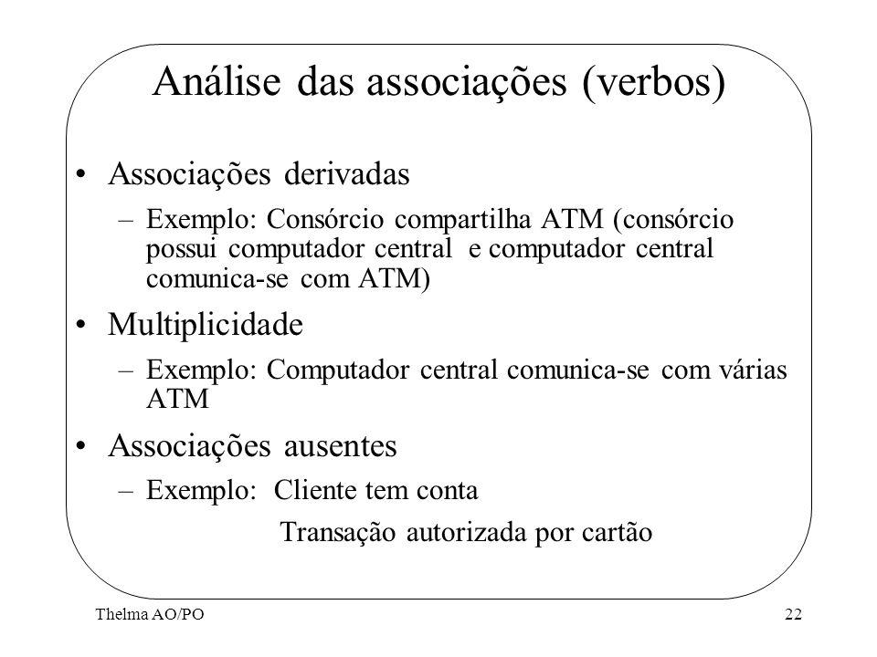 Thelma AO/PO22 Análise das associações (verbos) Associações derivadas –Exemplo: Consórcio compartilha ATM (consórcio possui computador central e compu