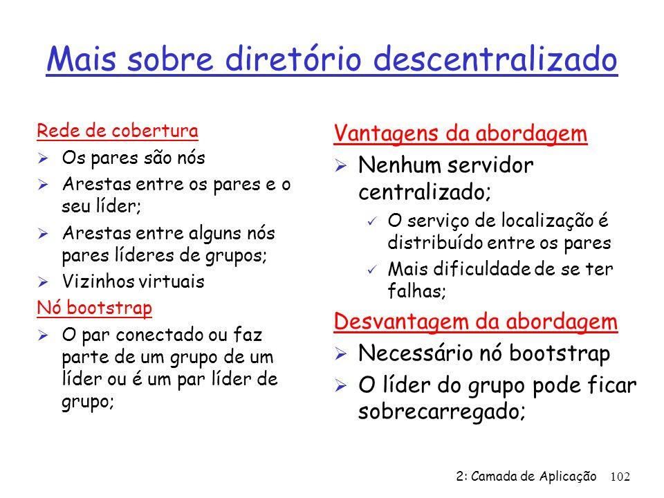 2: Camada de Aplicação102 Mais sobre diretório descentralizado Rede de cobertura Ø Os pares são nós Ø Arestas entre os pares e o seu líder; Ø Arestas entre alguns nós pares líderes de grupos; Ø Vizinhos virtuais Nó bootstrap Ø O par conectado ou faz parte de um grupo de um líder ou é um par líder de grupo; Vantagens da abordagem Ø Nenhum servidor centralizado; ü O serviço de localização é distribuído entre os pares ü Mais dificuldade de se ter falhas; Desvantagem da abordagem Ø Necessário nó bootstrap Ø O líder do grupo pode ficar sobrecarregado;