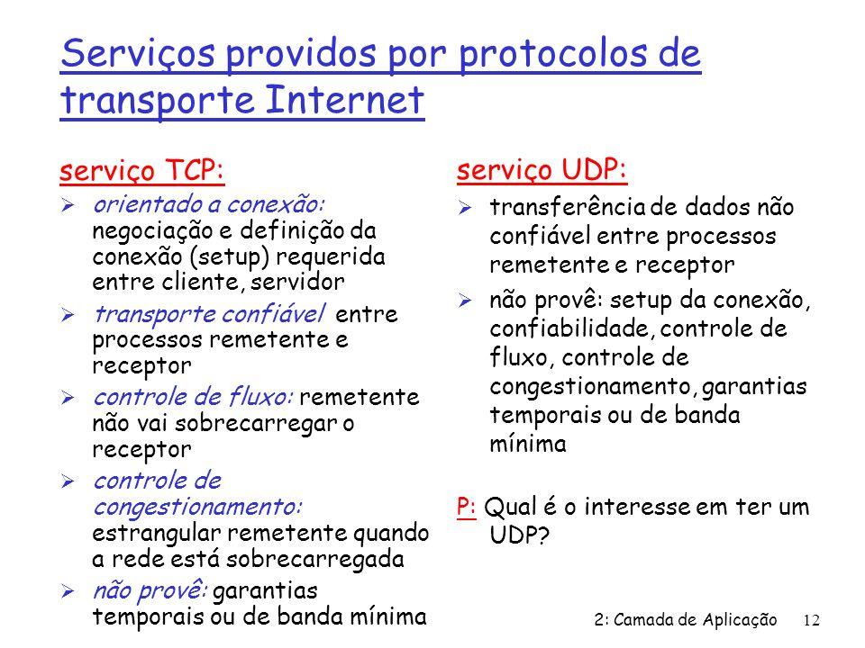 2: Camada de Aplicação12 Serviços providos por protocolos de transporte Internet serviço TCP: Ø orientado a conexão: negociação e definição da conexão