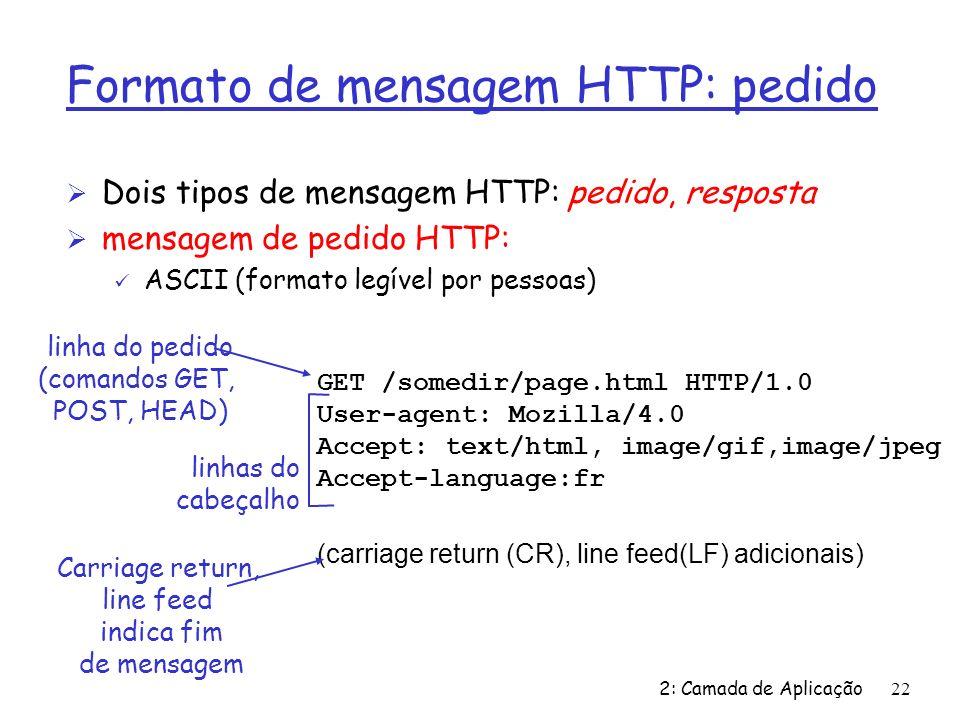 2: Camada de Aplicação22 Formato de mensagem HTTP: pedido Ø Dois tipos de mensagem HTTP: pedido, resposta Ø mensagem de pedido HTTP: ü ASCII (formato legível por pessoas) GET /somedir/page.html HTTP/1.0 User-agent: Mozilla/4.0 Accept: text/html, image/gif,image/jpeg Accept-language:fr (carriage return (CR), line feed(LF) adicionais) linha do pedido (comandos GET, POST, HEAD) linhas do cabeçalho Carriage return, line feed indica fim de mensagem