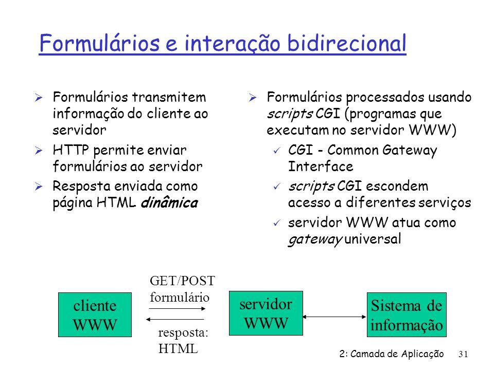 2: Camada de Aplicação31 Formulários e interação bidirecional Ø Formulários transmitem informação do cliente ao servidor Ø HTTP permite enviar formulá