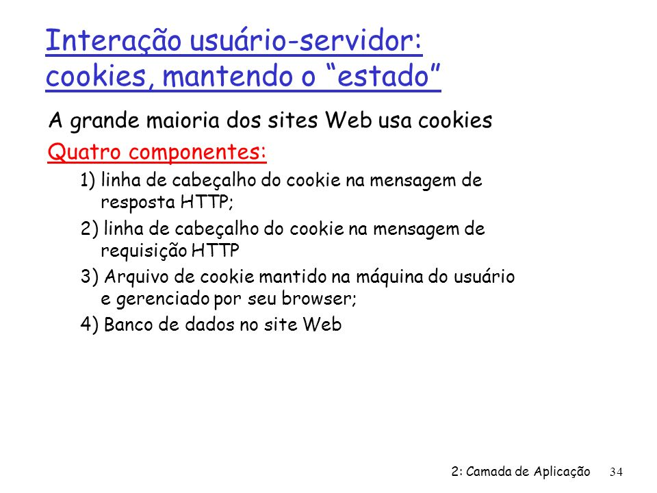 2: Camada de Aplicação34 A grande maioria dos sites Web usa cookies Quatro componentes: 1) linha de cabeçalho do cookie na mensagem de resposta HTTP; 2) linha de cabeçalho do cookie na mensagem de requisição HTTP 3) Arquivo de cookie mantido na máquina do usuário e gerenciado por seu browser; 4) Banco de dados no site Web Interação usuário-servidor: cookies, mantendo o estado
