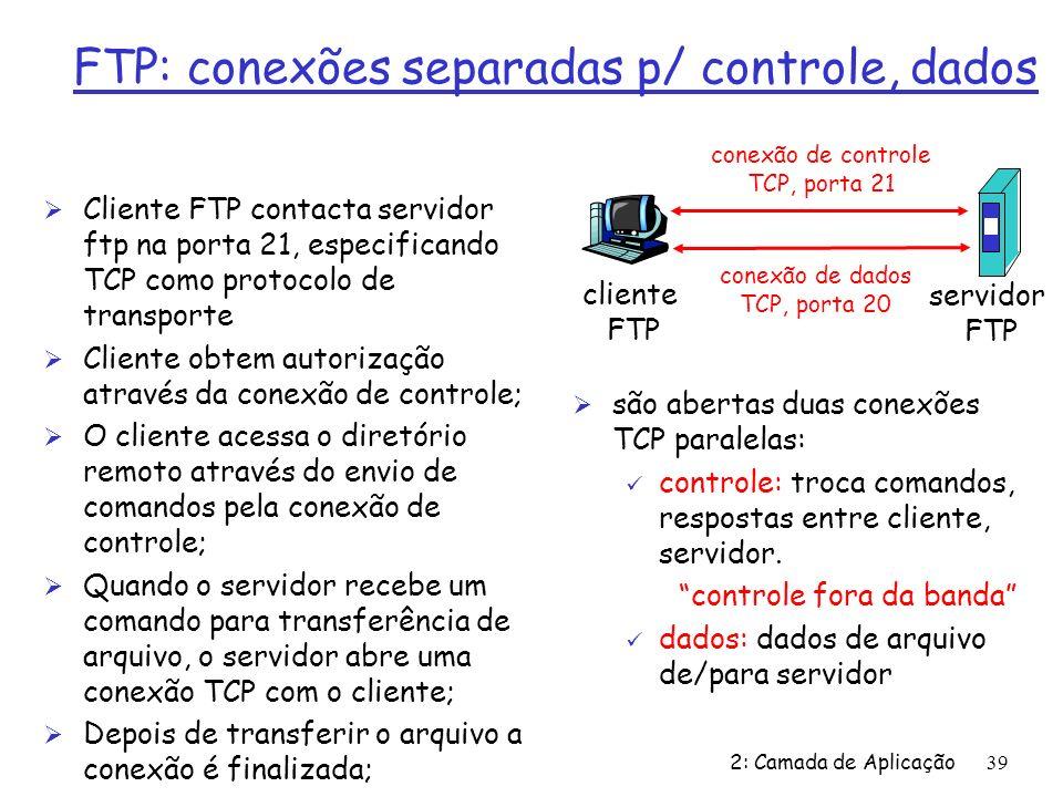 2: Camada de Aplicação39 FTP: conexões separadas p/ controle, dados Ø Cliente FTP contacta servidor ftp na porta 21, especificando TCP como protocolo de transporte Ø Cliente obtem autorização através da conexão de controle; Ø O cliente acessa o diretório remoto através do envio de comandos pela conexão de controle; Ø Quando o servidor recebe um comando para transferência de arquivo, o servidor abre uma conexão TCP com o cliente; Ø Depois de transferir o arquivo a conexão é finalizada; cliente FTP servidor FTP conexão de controle TCP, porta 21 conexão de dados TCP, porta 20 Ø são abertas duas conexões TCP paralelas: ü controle: troca comandos, respostas entre cliente, servidor.