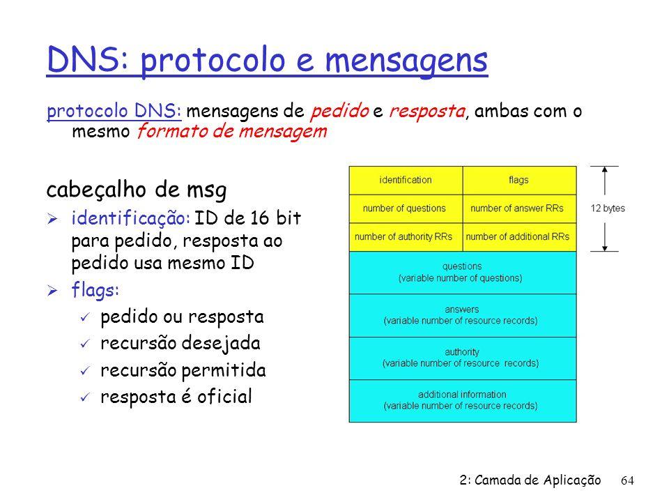 2: Camada de Aplicação64 DNS: protocolo e mensagens protocolo DNS: mensagens de pedido e resposta, ambas com o mesmo formato de mensagem cabeçalho de