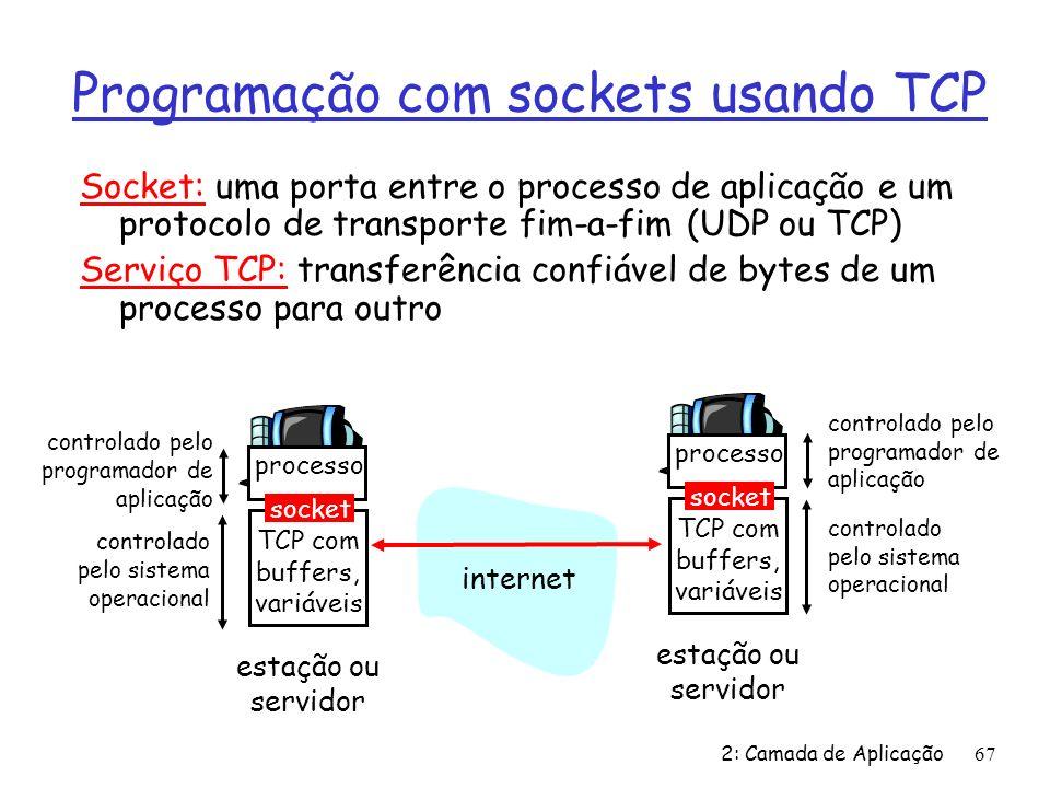 2: Camada de Aplicação67 Programação com sockets usando TCP Socket: uma porta entre o processo de aplicação e um protocolo de transporte fim-a-fim (UDP ou TCP) Serviço TCP: transferência confiável de bytes de um processo para outro processo TCP com buffers, variáveis socket controlado pelo programador de aplicação controlado pelo sistema operacional estação ou servidor processo TCP com buffers, variáveis socket controlado pelo programador de aplicação controlado pelo sistema operacional estação ou servidor internet