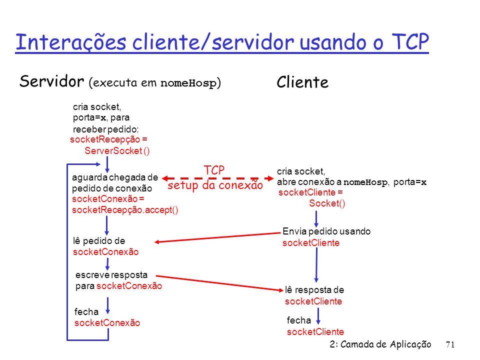 2: Camada de Aplicação71 Interações cliente/servidor usando o TCP aguarda chegada de pedido de conexão socketConexão = socketRecepção.accept() cria socket, porta= x, para receber pedido: socketRecepção = ServerSocket () cria socket, abre conexão a nomeHosp, porta= x socketCliente = Socket() fecha socketConexão lê resposta de socketCliente fecha socketCliente Servidor (executa em nomeHosp ) Cliente Envia pedido usando socketCliente lê pedido de socketConexão escreve resposta para socketConexão TCP setup da conexão