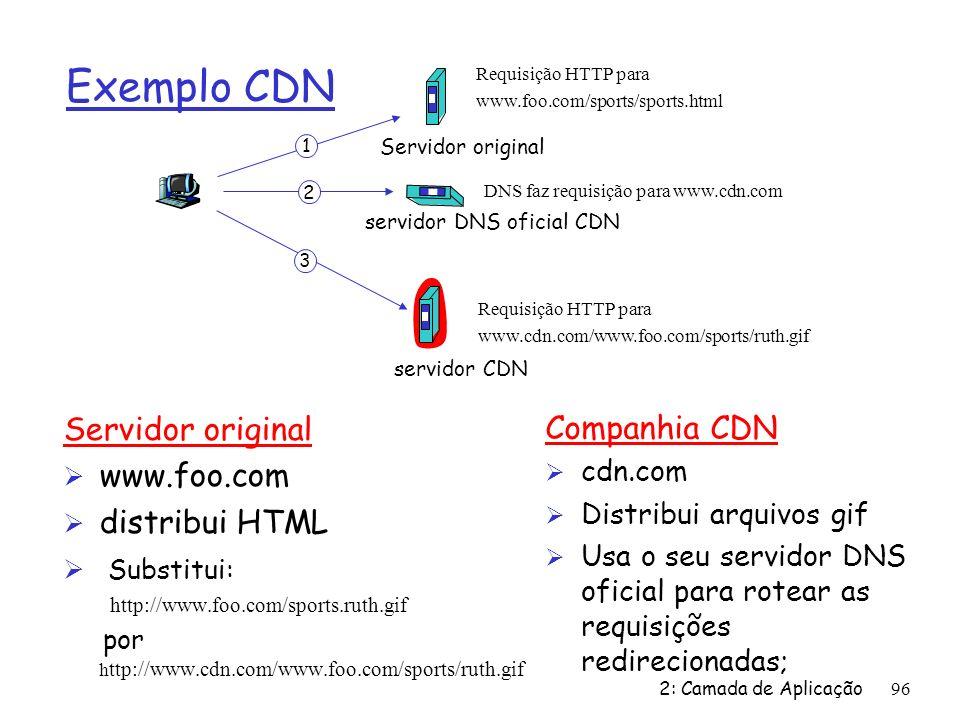 2: Camada de Aplicação96 Exemplo CDN Servidor original Ø www.foo.com Ø distribui HTML Ø Substitui: http://www.foo.com/sports.ruth.gif por h ttp://www.cdn.com/www.foo.com/sports/ruth.gif Requisição HTTP para www.foo.com/sports/sports.html DNS faz requisição para www.cdn.com Requisição HTTP para www.cdn.com/www.foo.com/sports/ruth.gif 1 2 3 Servidor original servidor DNS oficial CDN servidor CDN Companhia CDN Ø cdn.com Ø Distribui arquivos gif Ø Usa o seu servidor DNS oficial para rotear as requisições redirecionadas;
