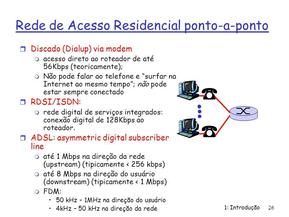 1: Introdução26 Rede de Acesso Residencial ponto-a-ponto r Discado (Dialup) via modem m acesso direto ao roteador de até 56Kbps (teoricamente); m Não