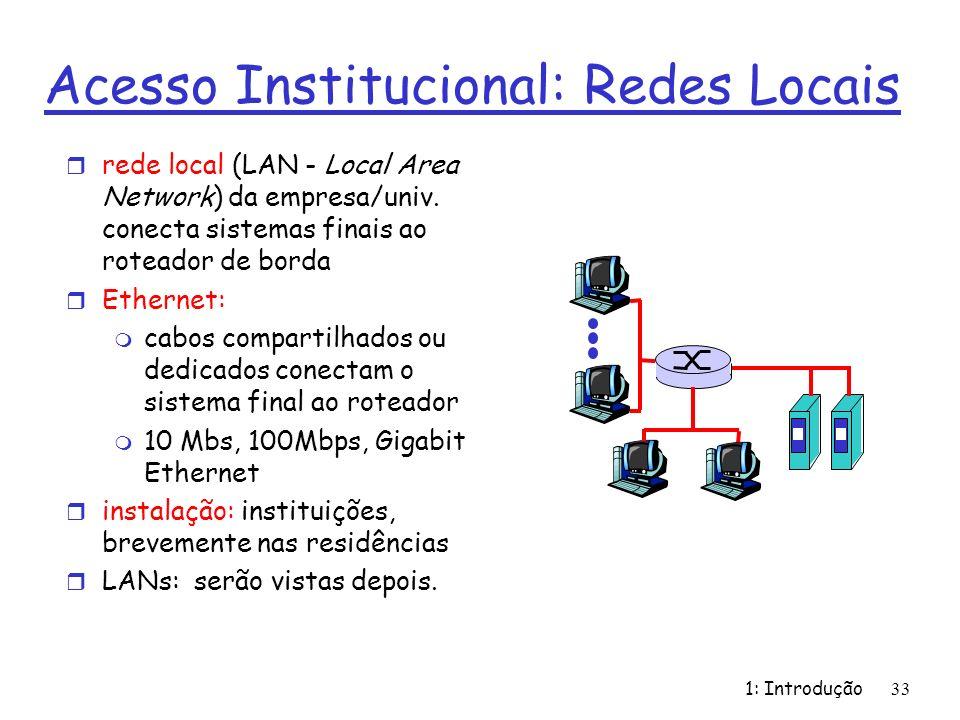 1: Introdução33 Acesso Institucional: Redes Locais r rede local (LAN - Local Area Network) da empresa/univ. conecta sistemas finais ao roteador de bor