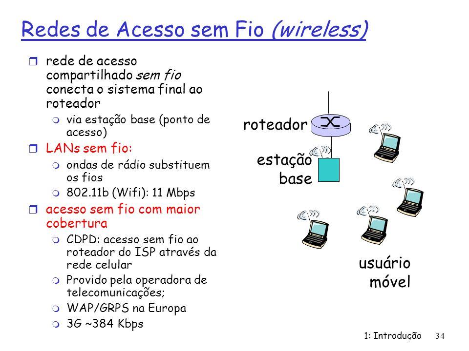 1: Introdução34 Redes de Acesso sem Fio (wireless) r rede de acesso compartilhado sem fio conecta o sistema final ao roteador m via estação base (pont