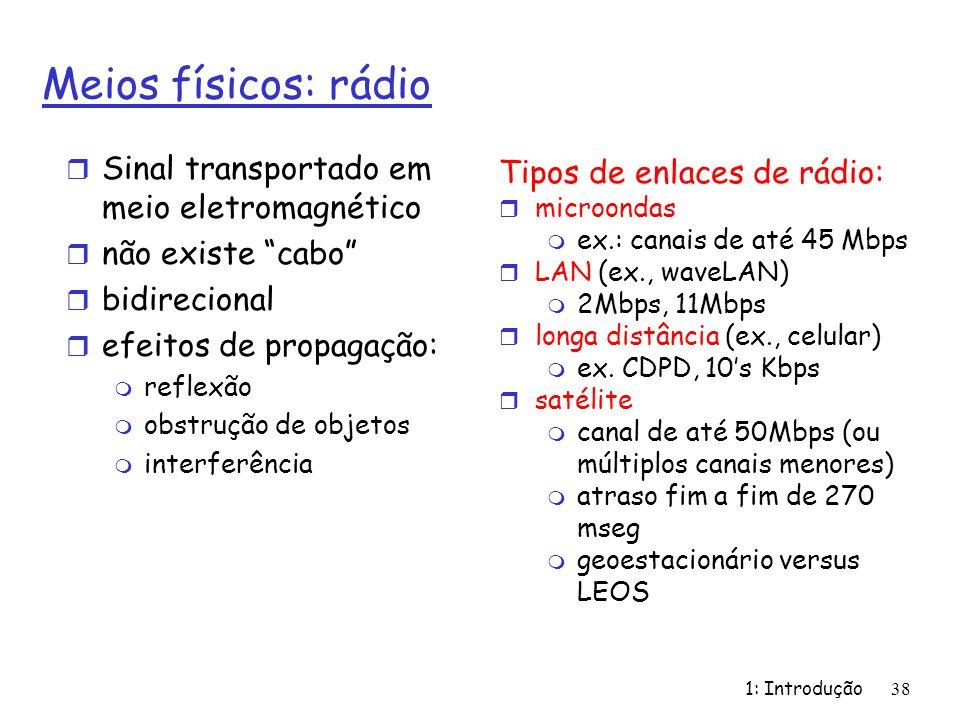 1: Introdução38 Meios físicos: rádio r Sinal transportado em meio eletromagnético r não existe cabo r bidirecional r efeitos de propagação: m reflexão