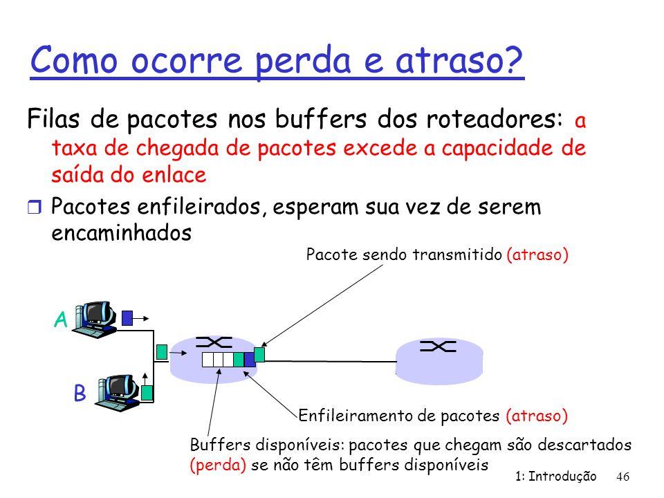 1: Introdução46 Como ocorre perda e atraso? Filas de pacotes nos buffers dos roteadores: a taxa de chegada de pacotes excede a capacidade de saída do