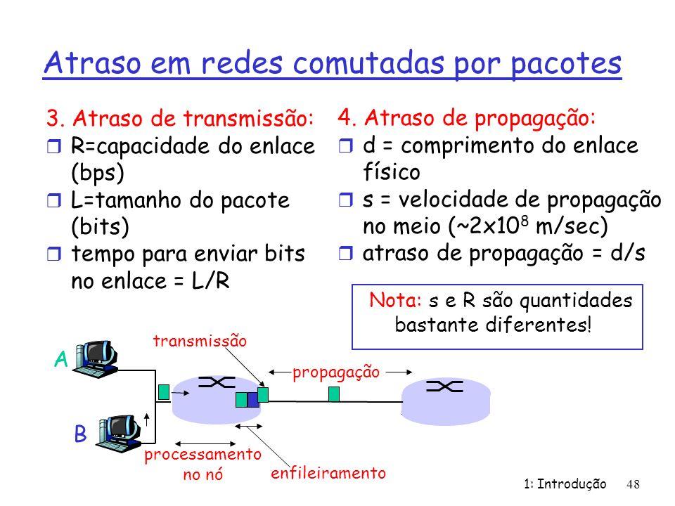 1: Introdução48 Atraso em redes comutadas por pacotes 3. Atraso de transmissão: r R=capacidade do enlace (bps) r L=tamanho do pacote (bits) r tempo pa