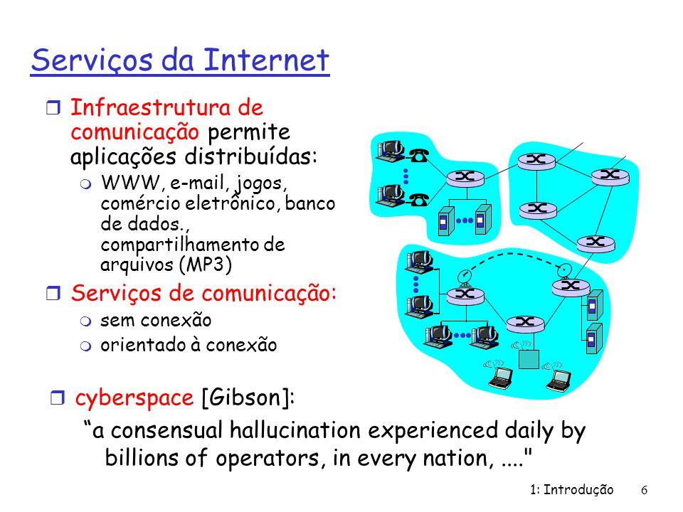 1: Introdução67 História da Internet r 1961: Kleinrock - teoria das filas demonstra eficiência da comutação por pacotes r 1964: Baran - comutação de pacotes em redes militares r 1967: concepção da ARPAnet pela ARPA (Advanced Reearch Projects Agency) r 1969: entra em operação o primeiro nó da ARPAnet r 1972: m Demosntração pública da ARPAnet m NCP (Network Control Protocol) - primeiro protocolo host-host m primeiro programa de e- mail m ARPAnet com 15 nós 1961-1972: Primórdios dos Princípios de redes: comutação de pacotes