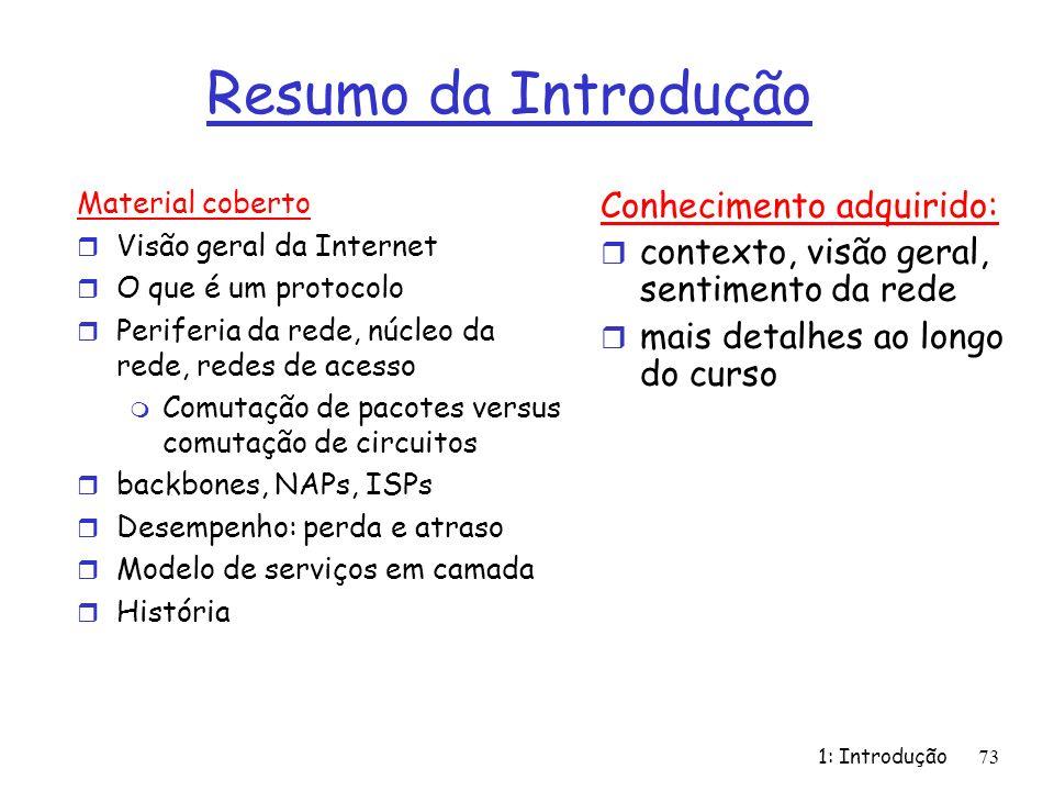 1: Introdução73 Resumo da Introdução Material coberto r Visão geral da Internet r O que é um protocolo r Periferia da rede, núcleo da rede, redes de a