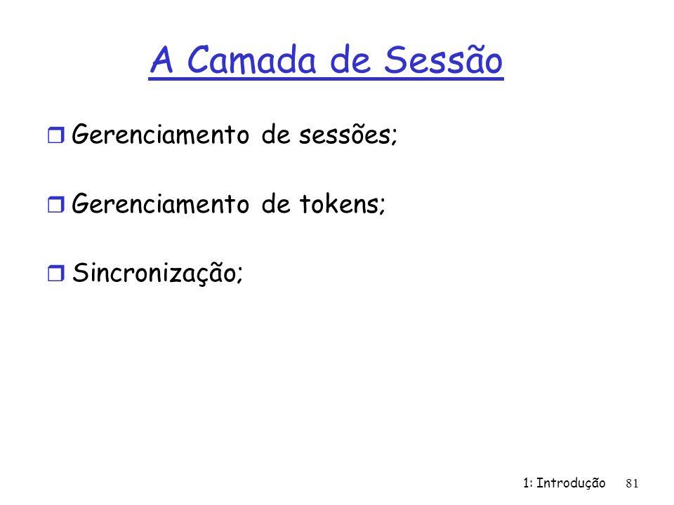 1: Introdução81 A Camada de Sessão r Gerenciamento de sessões; r Gerenciamento de tokens; r Sincronização;